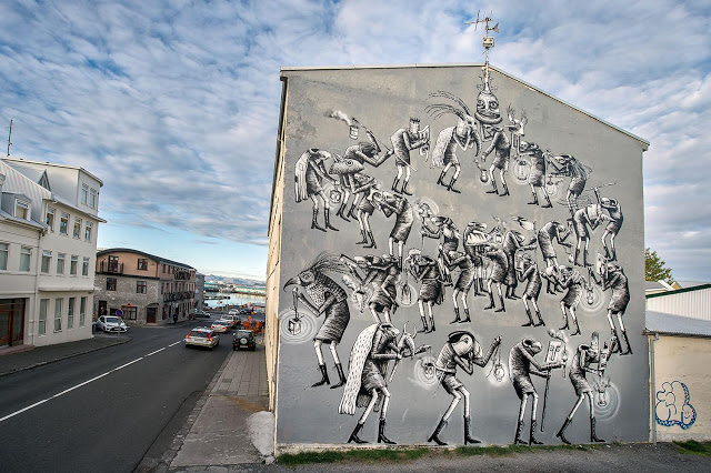Urban Nation brings international artists to Reykjavik, Iceland, to paint several murals in collaboration with Iceland Airwaves Music Festival , in September 2016. photo by Nika Kramer @urbannationberlin #urbannationberlin #museumofurbancontemporaryart #streetart #berlin #iceland #urbancontemporaryart #icelandairwaves @phlegm_art #phlegm